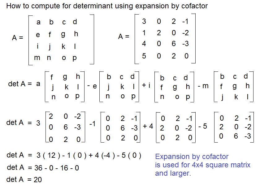 Determinant 5 x 5 calculator.